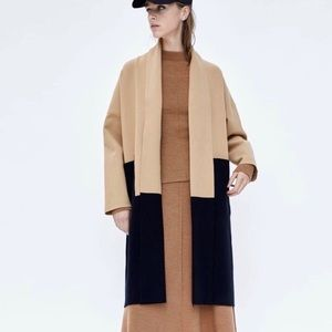 Zara Color Block Knit Coat Size Large